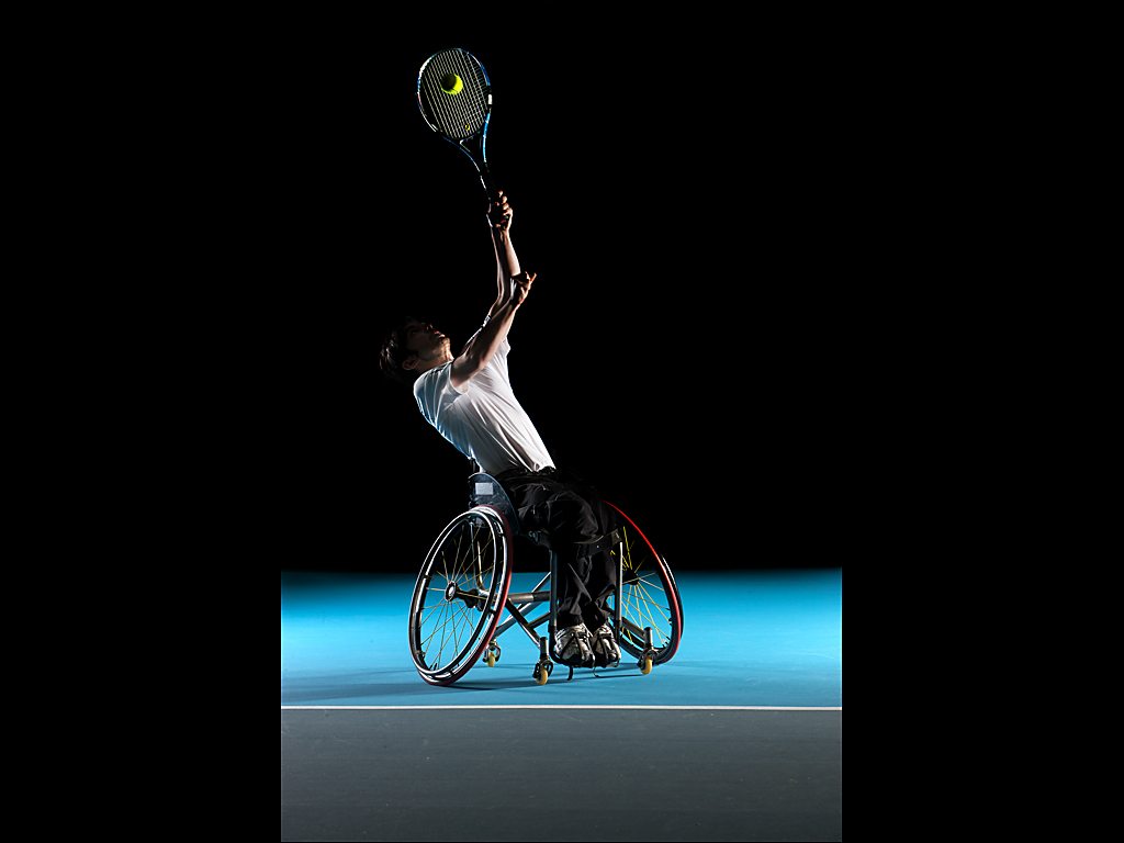 Colour portrait of wheelchair tennis player Liam O'Reilly