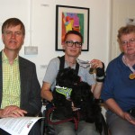 Stephen Timms MP, Artistic Director Ju Gosling and UKDPC Chair Julie Newman at the Together! Private View.