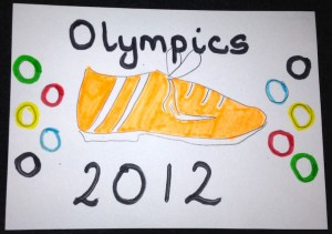 Colour photograph of handmade postcard about London 2012