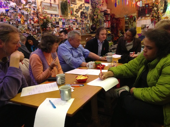 Colour photograph of the open poetry workshop at the Garden Cafe on 1 December 2012.