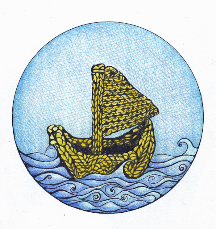 This is a painting of a yellow knitted boat with a knitted sail on a blue sea, against a blue sky.