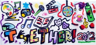 Photograph of a canvas banner, with the name Together! 2012 written at the bottom in colourful graffiti, with spray painted symbols above of different art forms such as a palette and brushes, camera, book, needle and cotton, clapperboard, microphone etc