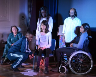 Act Up! Newham perform Outside the Box at the Old Town Hall Stratford on 25 November as part of the Together! 2016 Disability History Month Festival. L to R: Paizah Malek, Glory Sengo, Grace Fundu, Sterre Ploeger, Abdul Qureshi and Jade Sempare.