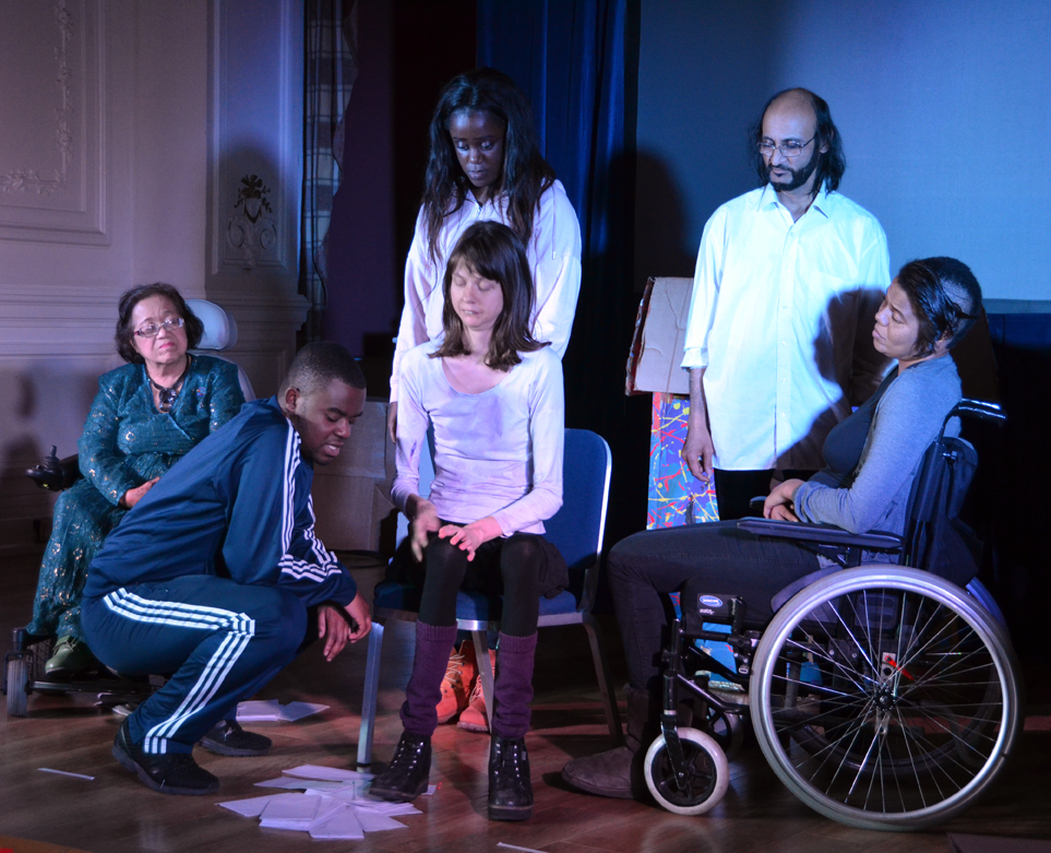 Act Up! Newham perform Outside the Box at the Old Town Hall Stratford on 25 November 2916. L to R: Paizah Malek, Glory Sengo, Grace Fundu, Sterre Ploeger, Abdul Qureshi and Jade Sempare.