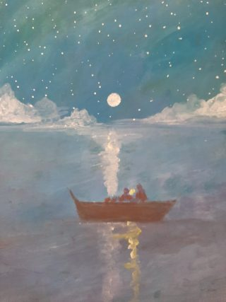 This is a painting of a brown boat on a calm piece of blue water. with a moon and starry sky in the background. Moonlight forms a path across the lake to the boat, whose colour is also reflected on thee. water.