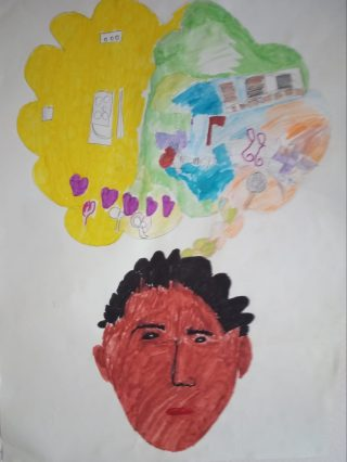 Coloured drawing in felt tip pen in portrait format. In the bottom half of the page is a man's head, with dark skin and dark curly hair. In the top half of the drawing, a thought bubble is divided vertically with yellow on the left and green to the right. The right half is filled with drawings of outdoor activities and the left is mainly blank, but a row of hearts joins them towards the bottom.