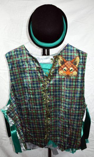 Shiny aqua green tartan waistcoat with appliquéd leaf trim and a fox head appliquéd on one shoulder