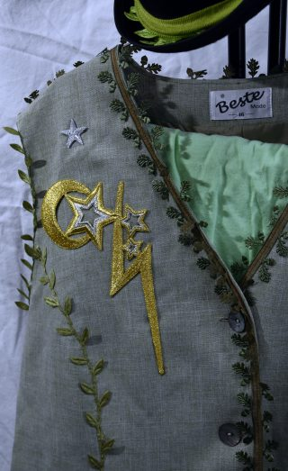 Close up of gold and silver appliqué stars