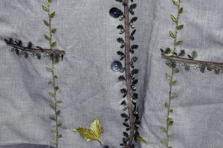 Close up of appliqué leaves