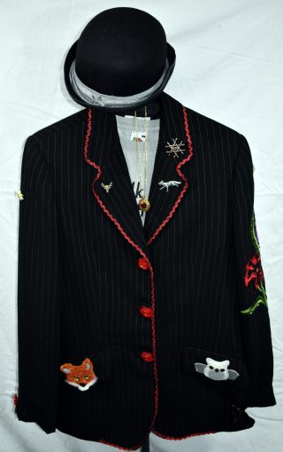 Black striped light blazer, decorated with rose buttons, red ric raw and various badges