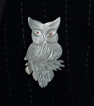 Close up of owl badge on sleeve