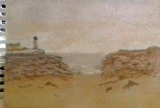 Watercolour painting showing the sea as seen from a beach, which fills the foreground. Rocks on both sides frame the sky and water, with a lighthouse visible in the distance to the left