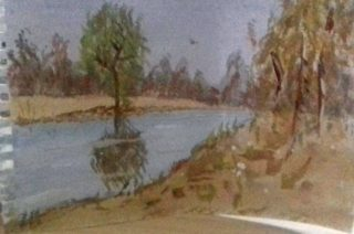 Water colour painting of a river running through Ireland, with a tree on the bank reflected in the water.