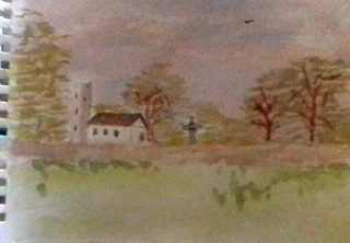 Watercolour painting of an Irish rural scene, with grass in the foreground and a church among trees in the background, with hills in the distance