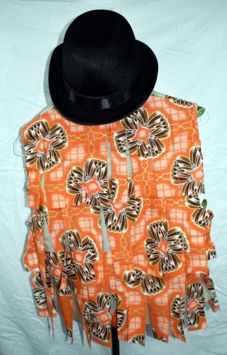 Back of waistcoat, covered with orange African fabric tatters