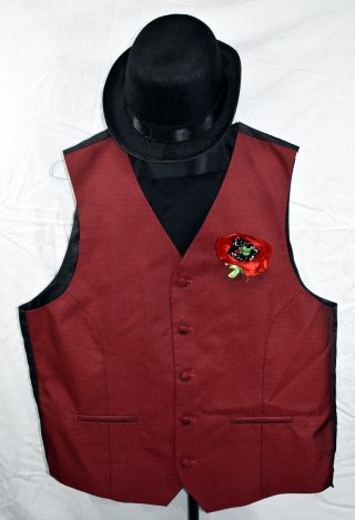 Red satin diamond-patterned waistcoat with red fabric badge