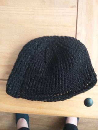 Black flecked wool knitted hat