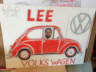 Drawing of a red Volkswagen Beetle car with a photo of the artist's face pasted into the driver's side