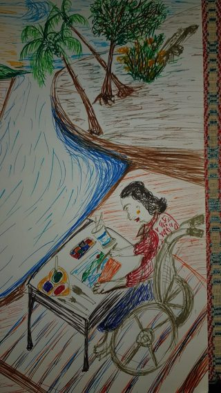 Coloured drawing in felt tipped pens of a woman sitting drawing by a river in a wheelchair. Her paints and paper are spread out on a table in front of her.