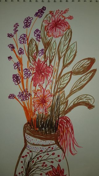 Coloured drawing in felt-tipped pens of flowers and foliage in a vase, with reds, oranges, purples and browns predominating