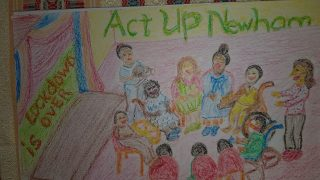 Crayon drawing of members of the Act Up! Newham drama group sitting in a circle together. The company name is behind them, and lockdown is over is written on a wall.