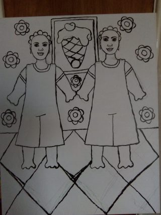 Drawing of two women standing next to each other on a diamond-patterned carpet with wallpaper behind them patterned with flowers, and a painting on the wall