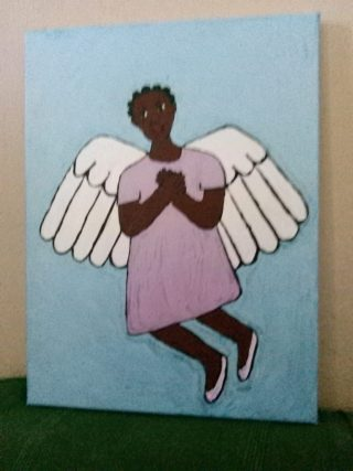 Painting of an angel wearing a pink dress and ballet shoes on a blue background