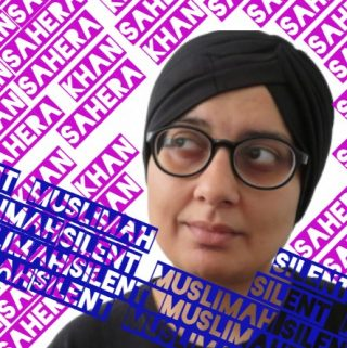 Head and shoulders shot of Sahera wearing a head covering and surrounded by words spelling out her name and the words Silent Muslimah