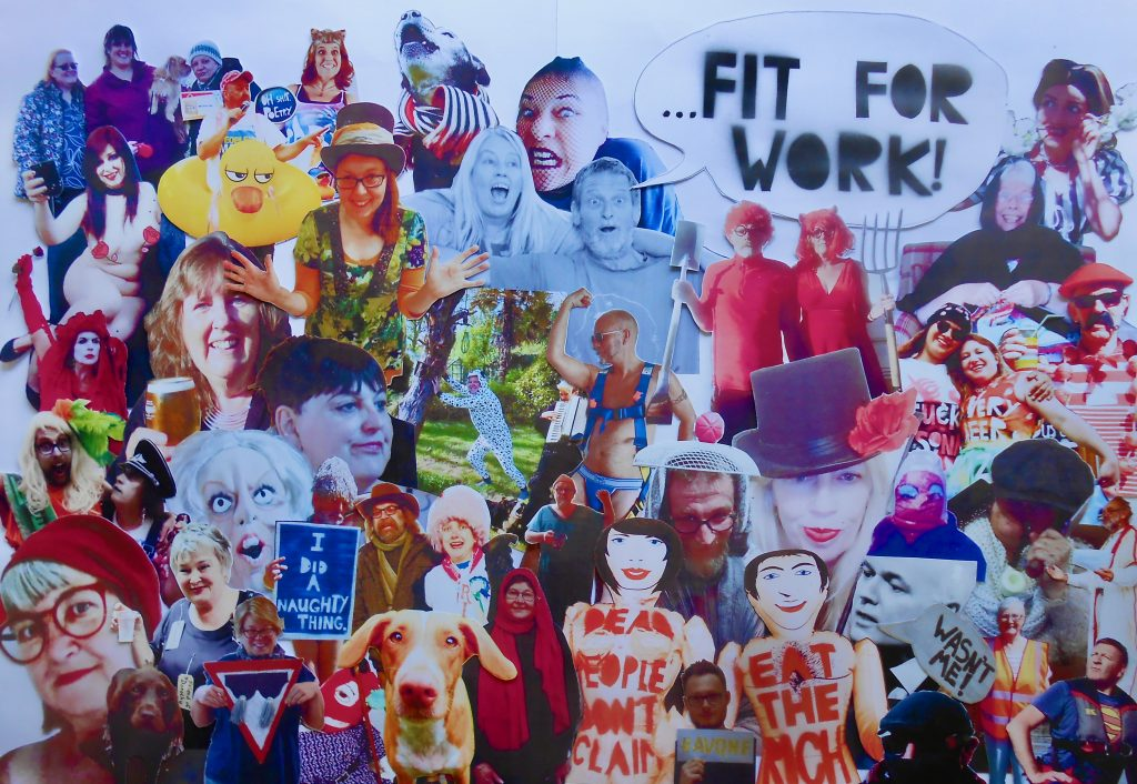 A montage of positive people coming together and asking Fit for Work!