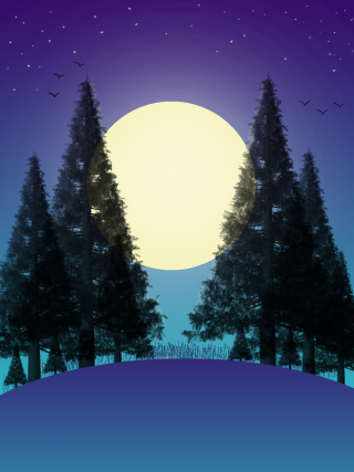 Digital drawing of a large full moon against a dark blue sky and foreground, with pine trees and the outlines of birds.