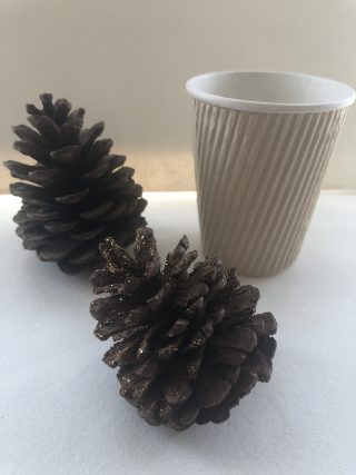 2 pine cones sit on a white table top in front of a disposable coffee cup.
