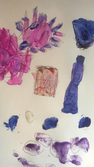Pencil and paint drawing in pinks and blues.