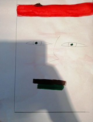 Sketch of a face with a red stripe at the top instead of hair and black paint over the mouth