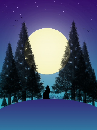A full moon is rising behind fir trees and a wolf is outlined on the horizon in the centre.