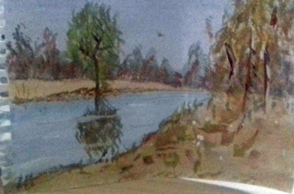 Painting of a river running through a sandy and wooded landscape, with a tree on the opposite bank reflected in the water.