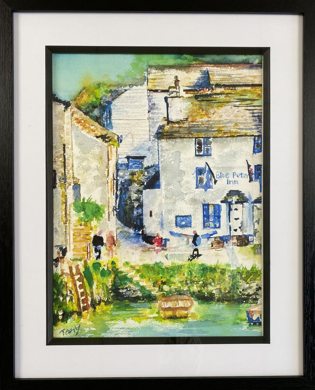 Framed picture of an old-fashioned inn called The Blue Peter in the background, while in the foreground steps lead down a stone jetty to water where a wooden boat is bobbing.