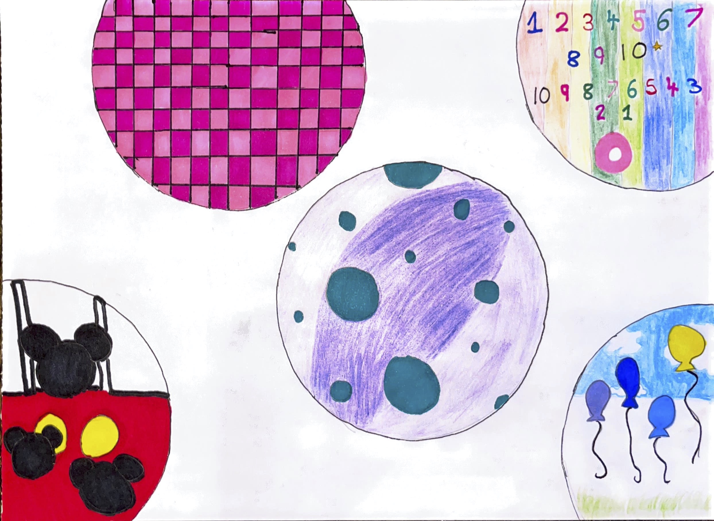 Drawing of different circles, each with different images and patterns - dark and light pink squares, numbers counting up and down to 10, balloons floating, mickey mouse ears and one with turquoise small circles in a large purple one.