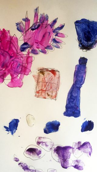 A pencil and paint drawing of pink flowers with ambiguous purple blue shapes.