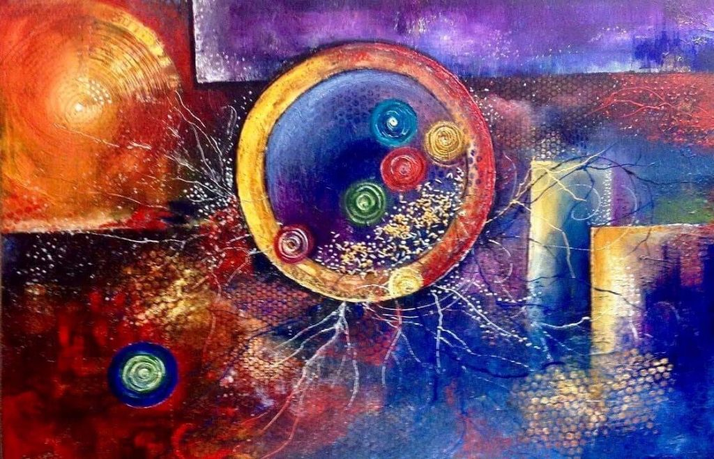 Brilliantly coloured semi-abstract painting in shades of red, orange, yellow, purple and blue