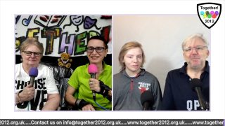 Screenshot of the four hosts on the Together Unlocked! live stream, which incorporates audio-description.