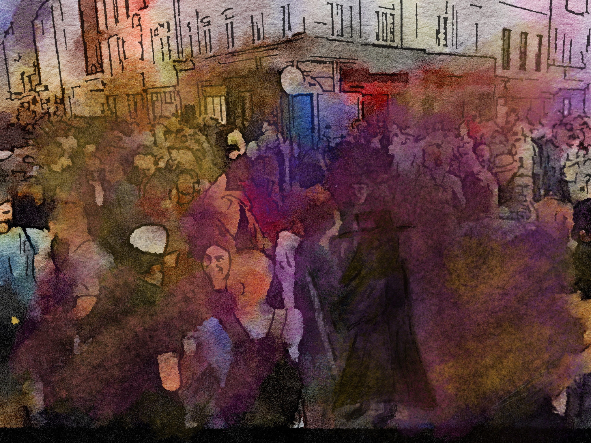 Digital image of a crowded street in Soho with a medieval plague doctor in the foreground.