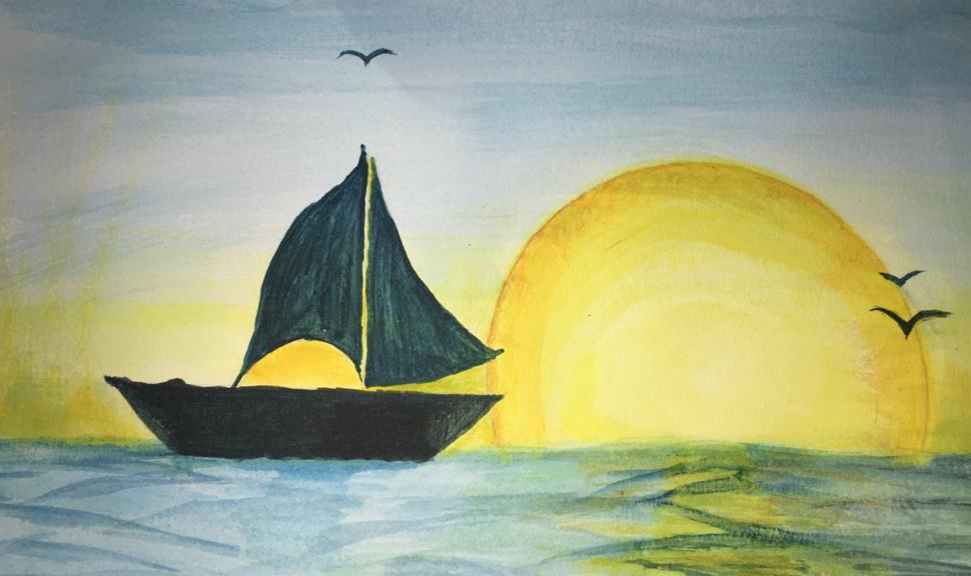 Painting of a sailing boat outlined against a large yellow moon on the horizon, with birds silhouetted against the sky.