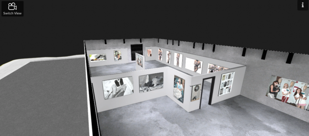 Computer generated image of a digital gallery, seen from above without a ceiling.
