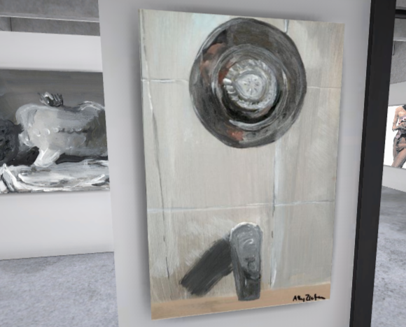 Painting displayed on the wall of a virtual gallery of a close up of a shower control panel with the artist's back reflected in the mirror