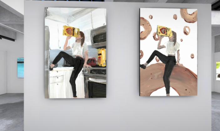 Two paintings are displayed on the wall of a computer-generated virtual gallery. Both show a young white woman with long hair, dressed in a white short-sleeved top and black leggings, eating directly from a packet of cereal.