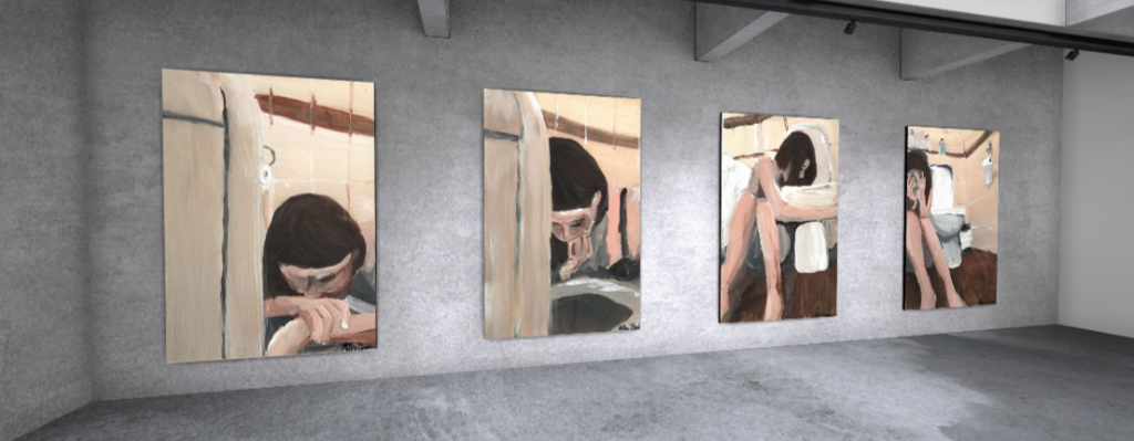 Four large paintings are displayed on one wall of a virtual gallery. Each shows the image of a woman in different stages of being sick in the bathroom.