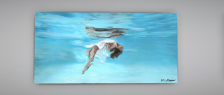Painting of a woman in a loose white sleeveless dress, floating underwater in a swimming pool, with her image reflected in the surface. The painting is displayed in a virtual gallery.