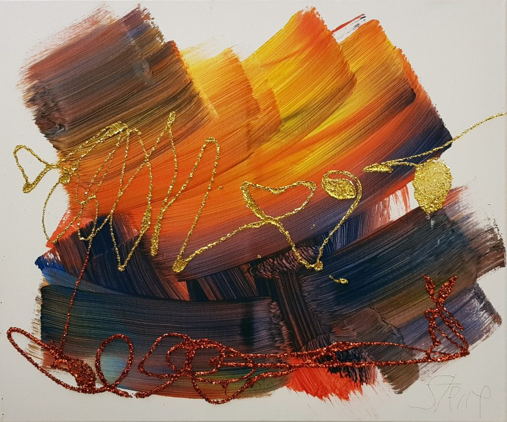 Abstract painting in shades of oranges and browns, with glitter.